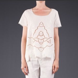 Joie white eyelet embroidered top blouse shirt s